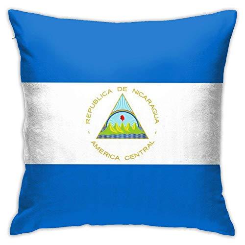 QUEMIN Funda de almohada decorativa con cremallera con diseño de bandera de Nicaragua, funda de cojín para silla, cama, sofá, 50,8 x 50,8 cm