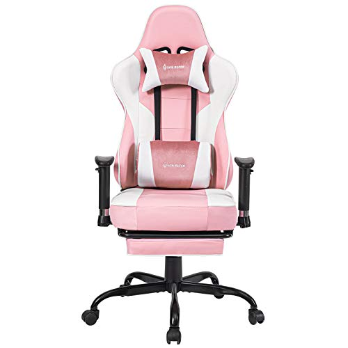 VON RACER Massage Gaming Chair Racing Office Chair - Adjustable Massage Lumbar Cushion, Retractable Footrest and Arms High Back Ergonomic Leather Computer Desk Chair, Pink/White