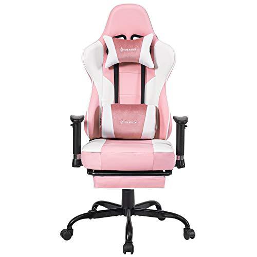 Gaming Stuhl Bürostuhl Ergonomischer mit Massage Lendenwirbelstütze- Hohe Rückenlehne Verstellbarer Schreibtischstuhl mit Fußstütze und Kopfstütze, PC-Stuhl Computerstuhl Gaming Chair (Pink)