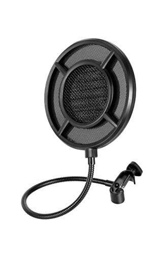 THRONMAX Professional Microphone Pop Filter Mask Shield For Any Other Microphone, Dual Layered Wind Pop Screen With A Flexible 360° Gooseneck Clip Stabilizing Arm