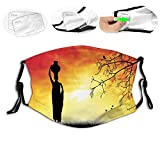 Comfortable Windproof mask,Silhouette of a Loving Couple Under Umbrella The Eiffel Tower on The Background,Printed Facial decorations for adult