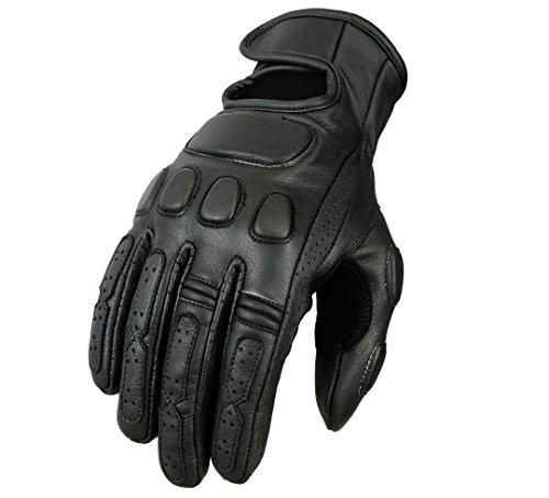 Bikers Gear Australia - Guantes clásicos de piel para motocicleta, talla L, color negro