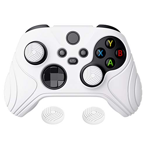 eXtremeRate PlayVital Samurai Edition White Anti-Slip Controller Grip Silicone Skin, Ergonomic Soft Rubber Protective Case Cover for Xbox Series S/X Controller Model 1914 with White Thumb Stick Caps