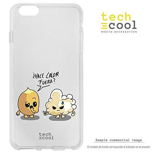 Funnytech Funda Silicona para Huawei P8 Lite [Gel Silicona Flexible, Diseño Exclusivo] Chiste Hace Calor maíz palomita Fondo Transparente