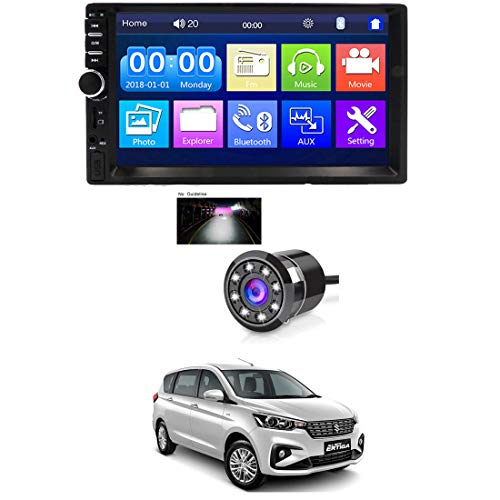 AYW 7 INCH Double Din Car Screen Stereo Media Player Audio Video Touch Screen Stereo Full HD with MP3/MP4/MP5/USB/FM Player/WiFi/Bluetooth & Mirror Link with Back Rear Camera Universal for All Car