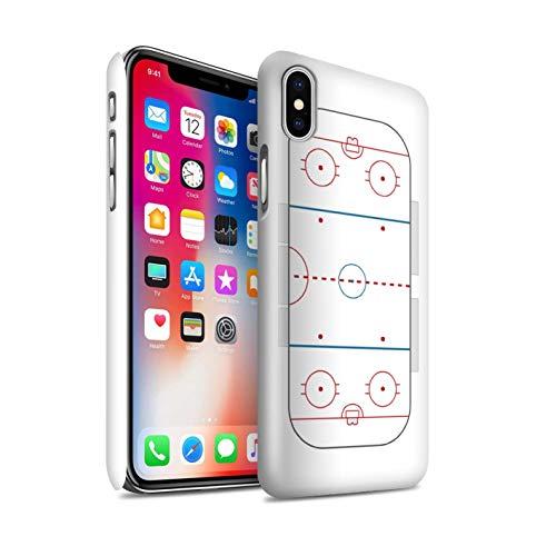 Glanz Handy Hülle kompatibel mit Apple iPhone XS Amerikanisch Sportplatz Feld Eishockey Glänzend Hart Schutzhülle Case Cover