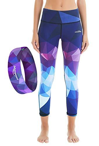 COOLOMG Damen Sport Leggings 3/4 Yoga Caprihose Joggen Laufen Fitness Workout Cardio S