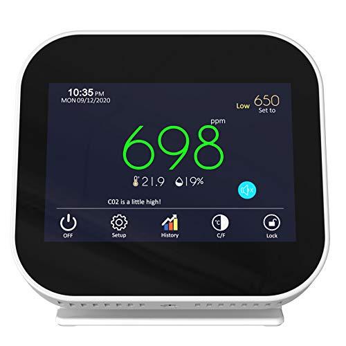CO2 Messgerät Raumluft Luftqualität mit Ampel, Warnton, Temperatur, und Luftfeuchtigkeit für Schule, Büro, Arbeit, Haushalt, oder Singen