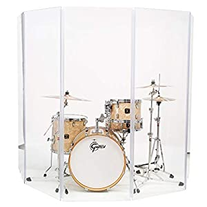 Drum Shield 10 Foot X 5 Foot DS4 Living Acrylic Drum Shield with Full Length Living Flexible Hinges 5 Panels 2 Foot X 5 Foot