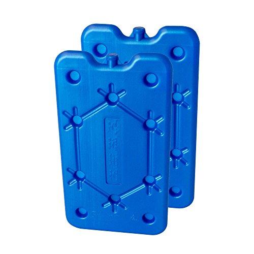 ToCi Juego de 2 acumuladores de frío con 400 ml cada uno, 2 elementos de refrigeración azules para la nevera o la nevera portátil, extraplano