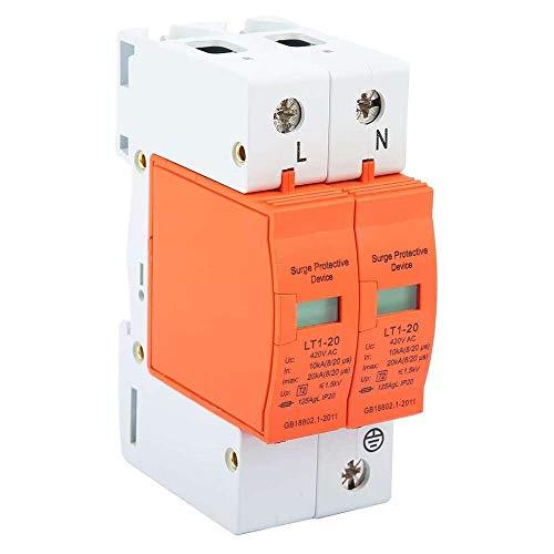 Yuyanshop Dispositivo de interruptor de protección contra sobretensiones, dispositivo protector de baja tensión de 2P 10kA-20kA 420V AC House