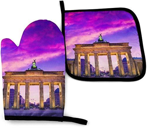 LREFON Manopla y Soporte para ollas para Horno Brandenburg Gate, agarradera Antideslizante para Guantes de Cocina con Placa Caliente Resistente al Calor