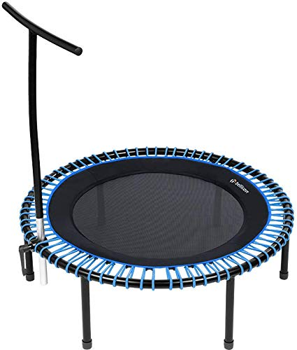 bellicon Plus Fitness Rebounder, T-Bar Support, Folding Legs, Comfort Mat, Blue, ø 112 cm, Strong Bungees (90-120kg), including Starter Pack, Made in Germany, and Design