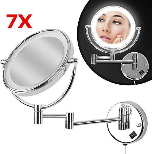 Kosmetikspiegel - EEK: A++, 7 Fach Zoom, LED Beleuchtung, Wandmontage, Gelenkarm, rund - Schminkspiegel mit Vergrößerung, Vergrößerungsspiegel, Rasierspiegel, Badspiegel, Wandspiegel, Make Up Spiegel