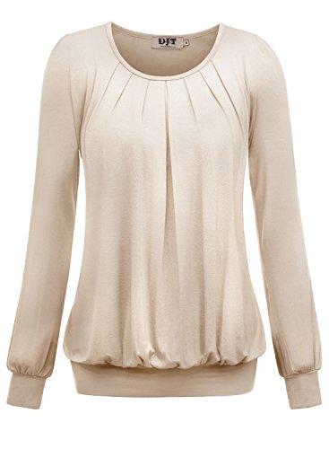 DJT Damen Langarmshirt Rundhals Falten T-Shirt Stretch Tunika Apricot M