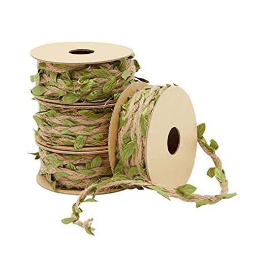 Burlap Leaf Ribbon, Jungle Party, Safari Decorations, for Birthday, Baby Shower, Classroom Decor, Jute Twine Vine Garland (4 Rolls, 16 Feet)
