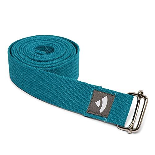 Bodhi Yogagurt | ASANA Belt aus 100{fc6e42c7931e2f15d8b9733b3b096223100c3d4ea317fc0b98a2ccb94fd08684} Baumwolle | Praktisches Yoga-Zubehör zur Dehnung | Yoga-Gurt mit Schiebeschnalle aus Metall | Anfänger & Fortgeschrittene | 250 x 3,8 cm (petrol)