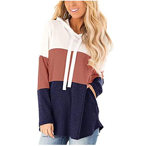 Damen Hoodies Farbblock Sweatshirt Gestreifte Pullover Casual Kapuzenpullover Langarm Shirts Kordelzug Oberteil mit Taschen