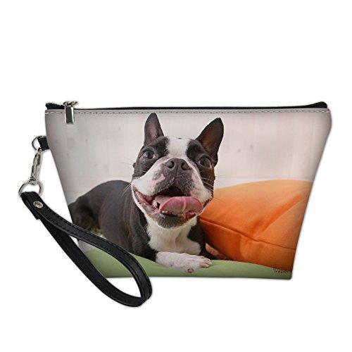 Hugs Idea Imprimé animal Portable Cosmétique Sac PU Cuir trapèze Maquillage Pouch noir Bulldog2 S