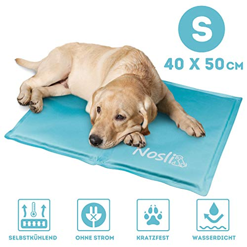 Nosli Kühlmatte für Hunde und Katzen - Idealer Schutz bei Hitze für Haustiere - Kältematte Selbstkühlend in verschiedenen Größen/Ice Blue S
