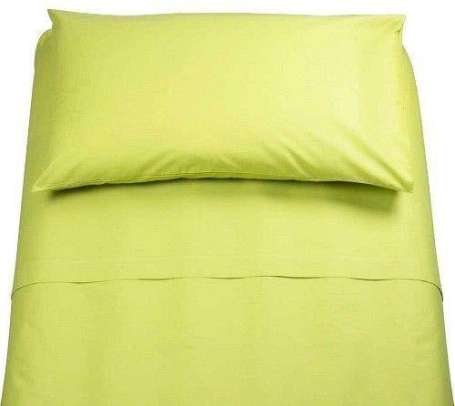 Irge Lenzuola Cotone Puro 100% Matrimoniale Tinta Unita sotto sopra 2 FEDERE Vari Colori (Verde Mela)