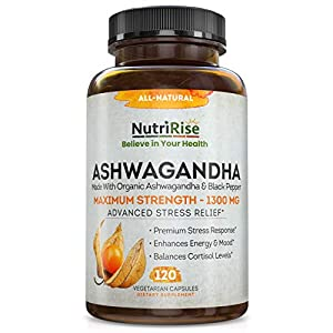 Ashwagandha 1300mg Made with Organic Ashwagandha Root Powder & Black Pepper Extract - 120 Capsules. 100% Pure Ashwagandha Supplement for Stress Relief, Anti-Anxiety & Adrenal, Mood & Thyroid Support from Nutririse