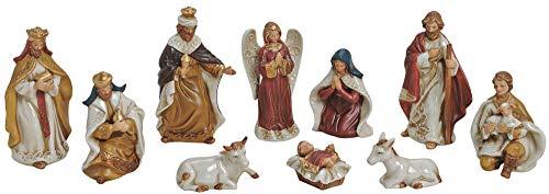 matches21 Krippenfiguren Christus Josef Maria etc - 10 Figuren für Krippen Weihnachtskrippen Stall Porzellan 5-12 cm