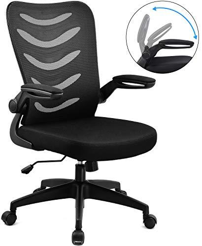 COMHOMA Bürostuhl Schreibtischstuhl Ergonomischer Drehstuhl inkl. Armlehnen(klappbar), Sitz(höhenverstellbar), Office Stuhl aus Stoff, Schwarz