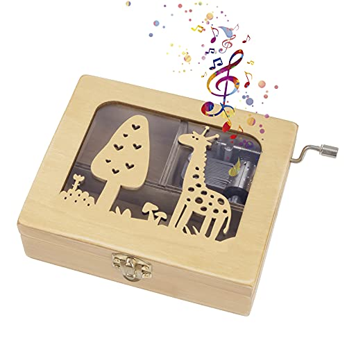 Heveer Caja de Música de Manivela de Madera Caja Musical Caja de Maquillaje Joyería Tallada a Mano del Tema Retro Mejor Regalo para Niños Niñas, Patrón de Jirafa