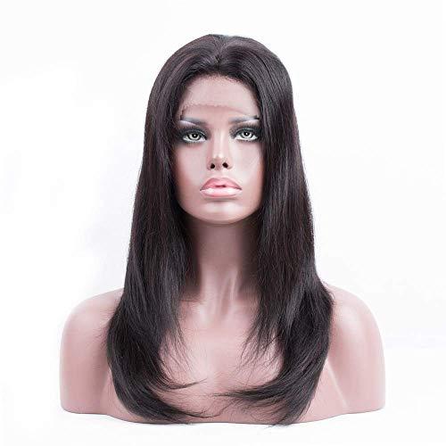ZMHVOL Pelucas Peluca Delantera de Encaje Recto Natural Brasileño Remy Human Hair Extensiones (Color: Negro, Tamaño: 18 Pulgadas) ZDWN (Color : Black, Size : 16 Inch)