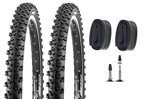 P4B | 2 neumáticos de bicicleta de 26 pulgadas (26 x 1,95), para bicicleta de montaña con cámaras SV, ETRTO 50-559, neumáticos ATB y MTB de 26 pulgadas.