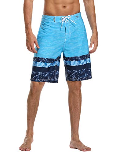 AXESEA Mens Swim Trunks Quick Dry Surf Elastic Swimwear Bathing Suits No Mesh Lining (Deep Blue, 38)