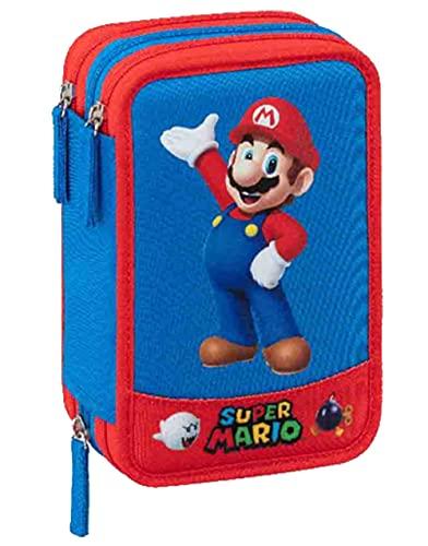 Astuccio 3 Zip Blu Super Mario