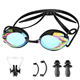 Swim Goggles, No Leaking Anti-Fog, UV Protection Swimming Goggles with Ear Plugs & Nose Clips for Adult (Black)