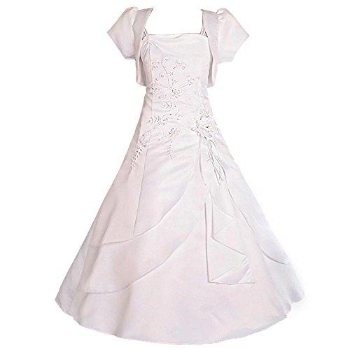 Lito Angels Mädchen Perlen Satin Anlass Heilige Kommunion Kleid Hochzeit Blumenmädchen Brautjungfernkleid Mit Bolero Gr. 7-8 Jahre Weiß