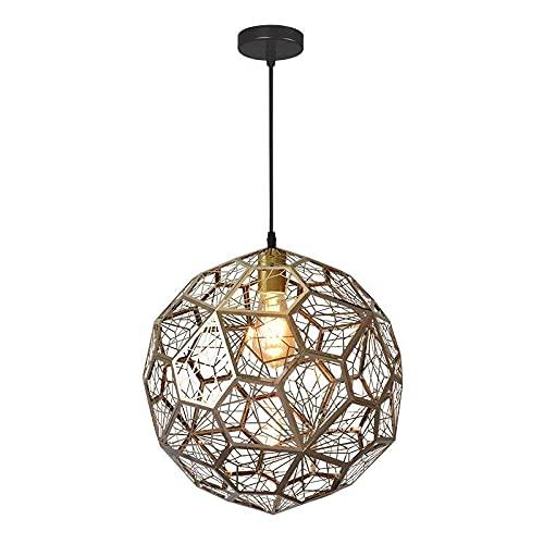 LIUDADA Lámpara de techo industrial, negra, moderna, hueca, vintage, 4 W, metal, lámpara colgante para mesa de comedor, salón, bar, 25 × 25 cm (oro rosa)