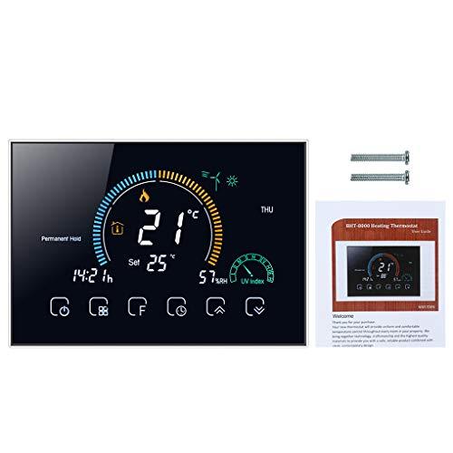 Vokmon Wi-Fi Inteligente Termostato Programable de retroiluminada LCD Wi-Fi Calefacción eléctrica Controlador, Negro
