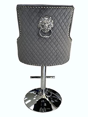 ASR Majestic Grey Velvet Bar Stool Lion Head Knocker Back Tufted Front Quilted Back Deep Button Back, Gas Lift, Plush Velvet, T-Bar Footrest