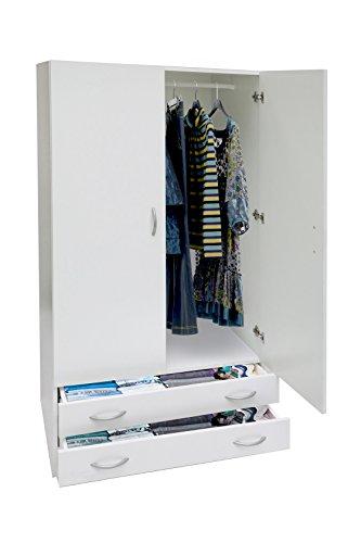 Esidra AR1026 Armadio, Ante e Due Cassetti, Legno, Bianco, 80x52x170 cm