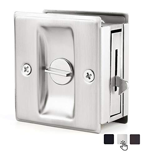 """HOMOTEK Privacy Sliding Door Lock with Pull - Replace Old Or Damaged Pocket Door Locks Quickly and Easily, 2-3/4""""x2-1/2"""", for 1-3/8"""" Thickness Door, Satin Nickel"""
