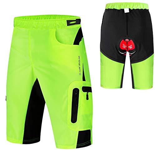 Lixada 2 en1 Pantalones Cortos de Ciclismo para Hombre con Relleno 3D Pantalones Cortos Holgados de Bicicleta de MTB Transpirables de Secado Rápido
