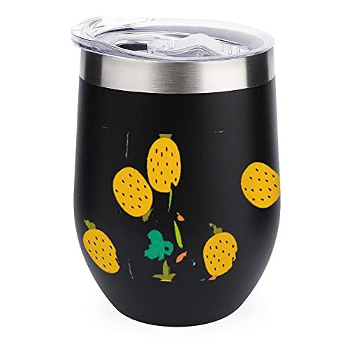 Bottiglie D'acqua Da 12 Oz Tazza Da Caffè Termica In Acciaio Inossidabile Con Coperchio Per Bevanda Ghiacciata, Bevanda Calda Ananas Frutta Cartone Animato Black