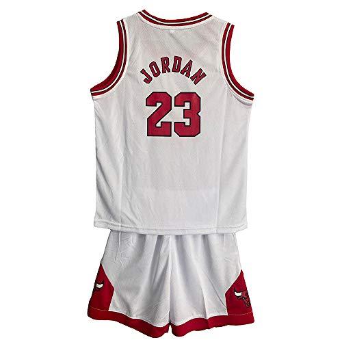 MASTERPETZ Jordán Jersey, 23, Niños Niñas Jerseys de Baloncesto Trajes de Verano Kits Top + Shorts (Blanco, Small)