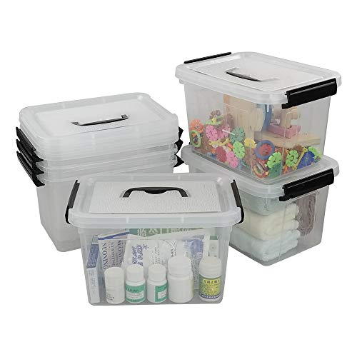 Asking - Caja de almacenamiento de plástico con asa, 6 unidades