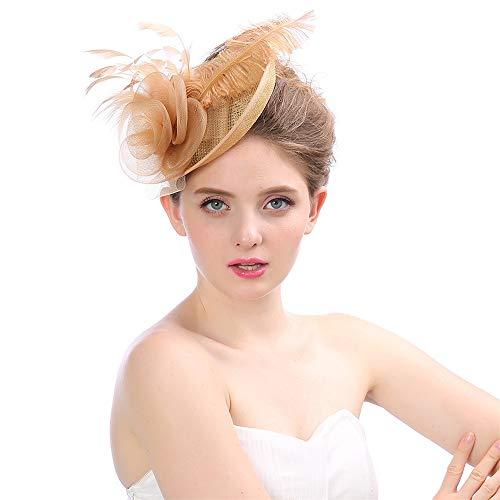LTH-GD Gorra de Invierno y Sombrero Elegante Fascinator Sombrero de Las Mujeres Gorras de Cóctel Nupcial Pluma Pinza de Pelo Accesorios Accesorios Royal Ascot (Color : Coffee)