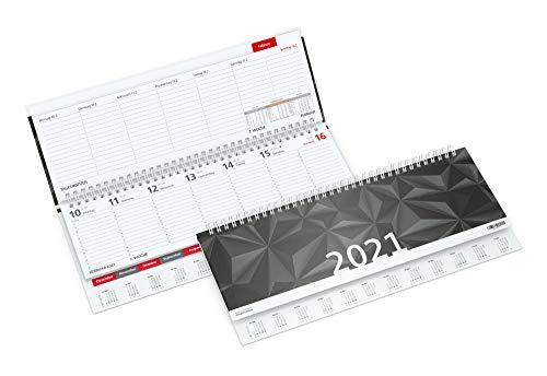 geiger notes -Premium-Tisch-Querkalender 2021 TEMPO-REGISTER, Terminplaner mit Monats-Registerstanzung + extra stabiler Hardcover 1 Woche auf 2 Seiten, 30,5 x 13 cm, 128 Seiten