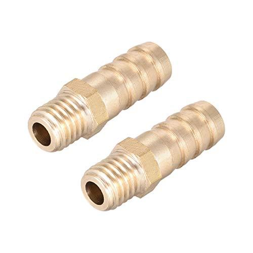 Pilang Zxxin-Accesorios de tuberia 2pcs M10x1.5 Macho a Barb Manguera ID 10 mm Latón Montaje de Conector Metric (Color : 10mmxM10x1.5 2pcs)