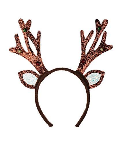 SIX Haarreif mit glitzerndem Rentier-Geweih und klingelnden Glöckchen für Karneval bzw. Faching (315-895)
