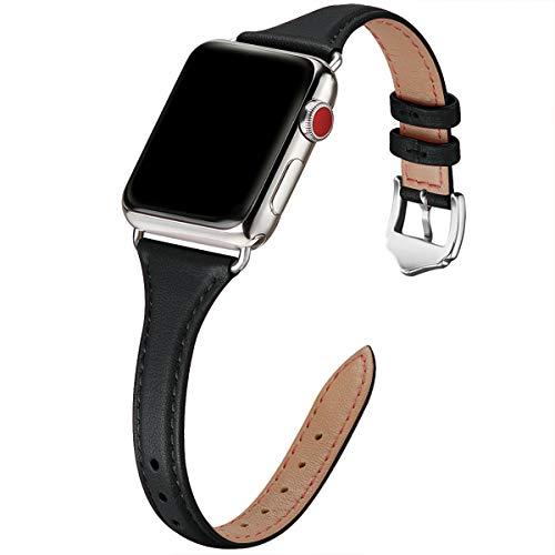 WFEAGL Correa para Correa Apple Watch 38mm 40mm 42mm 44mm, Correa de Repuesto de Cuero Multicolor para iWatch Serie 5 Serie 4/3/2/1(38mm 40mm,Negro/Plata)