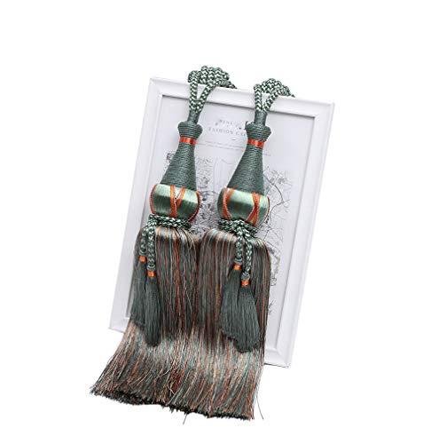 YunNasi - 1 par de alzapaños para Cortinas, Hecho a Mano, con borlas, para decoración del hogar
